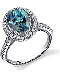 Revoni Simulated Alexandrite Halo Milgrain Ring Sterling Silver 2.50 Carats Sizes J to R