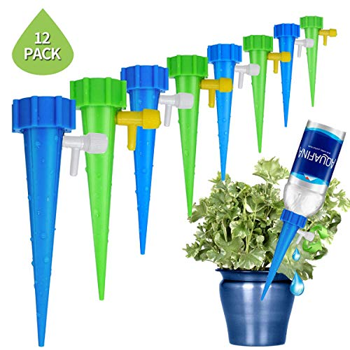 Minetom Pflanzen Bewässerung 12 Stück Bewässerungs-Spikes Einstellbar Bewässerungssystem zur Pflanzen Bewässerung und Blumen Bewässerung ideal als Urlaubsbewässerungssystem