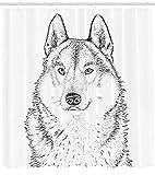 ABAKUHAUS Schwarz-Weiss Duschvorhang, Hölzer Tier Wolf, mit 12 Ringe Set Wasserdicht Stielvoll Modern Farbfest und Schimmel Resistent, 175x180 cm, Weiß und Schwarz