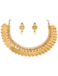 JFL - Traditional Ethnic One Gram Gold Plated Temple Laxmi Goddess Pearls Designer Necklace Set With Earring For...