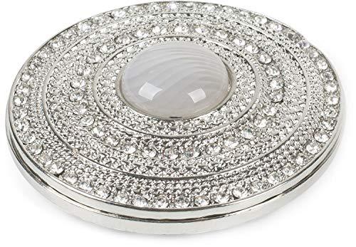 styleBREAKER Damen Magnet Schmuck Brosche rund mit Strass und großer Perle, für Schals, Tücher oder Ponchos, Anhänger 05050082, Farbe:Silber-Grau