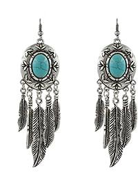 58e2744f66bd fablcrew pendientes retro exagerado borla de plumas de color turquesa  bohemio pendientes joyería para Lady mujer