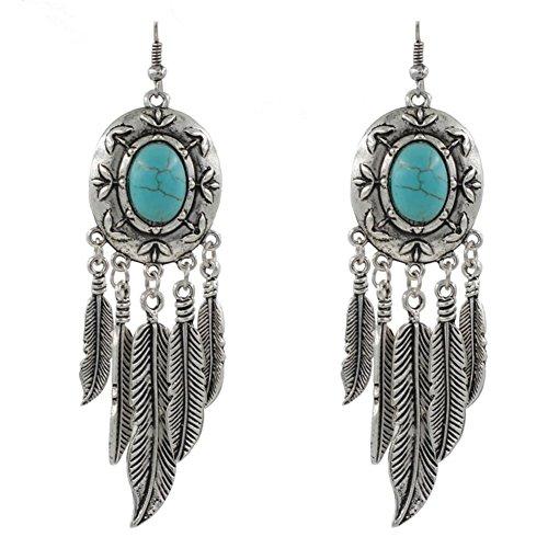 fablcrew pendientes retro exagerado borla de plumas de color turquesa bohemio pendientes joyería para Lady mujer