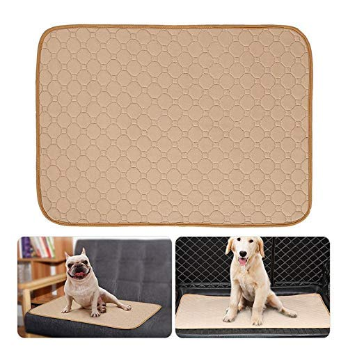 E-CHENG Pet Pee Pad Reusable Washable Dog Training Pee Pads, Anti-Slip Waterproof Bed Mat Puppy Training Trainer Pads Toilet Pee Wee Mats Beige M (Creamy White M) -