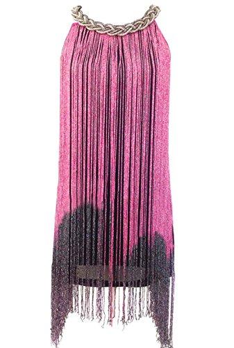 URqueen Women Fringe Tassel Camisole Dress Latin Dance Costume Hot (Flapper Kleid Pink Hot)