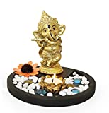 #6: Tied Ribbons Golden Ganesha Playing Bansuri Ganesh Idol For Gift