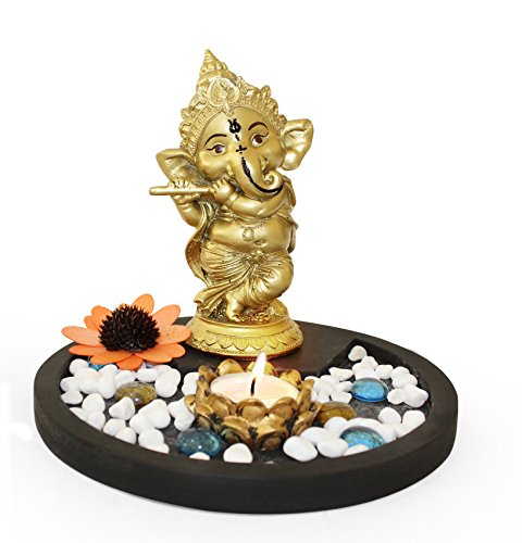 Tied Ribbons Golden Ganesha Playing Bansuri Ganesh Idol For Gift