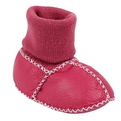 Evedaily Babyschuhe Lauflernschuhe Winter Krabbelschuhe Lammfellschuhe mit Strickbündchen für Jungen Mädchen (Stiefel Acme-kinder)