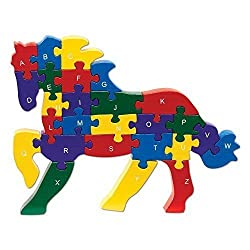 Alphabet Puzzle - ABC puzzle blocks Shaped Horse-Educational Learn Letters and Numbers Horse Puzzle Animal - Colorful, Non-Toxic Paint