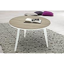 Mesa de centro redonda color roble con patas de madera maciza blancas. Mesita de salón comedor. 60cm diámetro x 38cm altura.