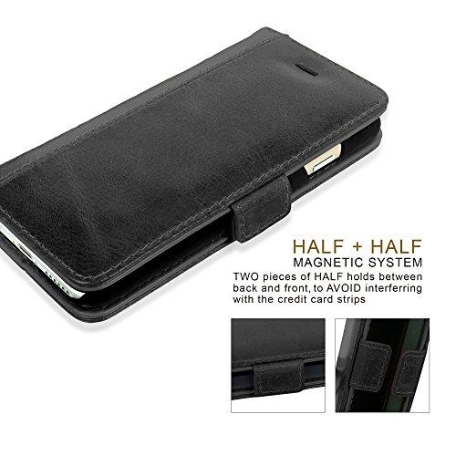 GBOS® Braun reale echtes Leder-Standplatz-Mappen-Schlag-Fall Apple iPhone X-Fall-Abdeckung - (speziell angefertigten - Executive Qualität) Schwarz