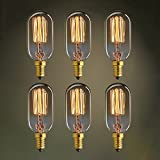 KJLARS 6 X Vintage Edison Bombillas E14 40w t45 Alambre recto Bulbo edison pequeño Alambre tornillo colgante de luz decoración retro