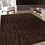 #8: Stock Clearence@Pathak Carpet Brown Handloom Wave Collection 5' x 8' Area Rug for living Room Bed Room Dining Room , Brown