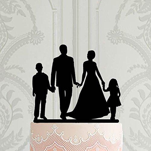 Hochzeitstorte Topper Familie mit Kindern Silhouette Topper Braut und Bräutigam Junge Mädchen Custom Cake Topper Hochzeit Dekoration Kuchen Dekoration