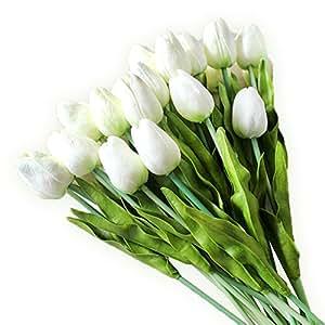 20 Stück JUYUAN-EU Tulpe künstliche Blumen mit Blätter Dekoriere Kunstblumen Latex Real Touch Bridal Wedding Bouquet Home Decor Weiss