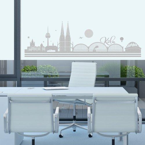 Glasdekor Fensterfolie Skyline Köln Frost- und Milchglaseffekt
