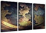 Game of Thrones Motiv, 3-teilig auf Leinwand (Gesamtformat: 120x80 cm), Hochwertiger Kunstdruck als Wandbild. Billiger als ein Ölbild! ACHTUNG KEIN Poster oder Plakat!