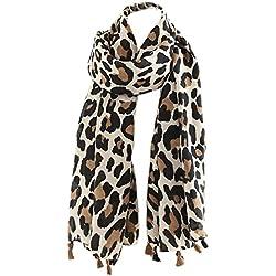 Clásico Bufanda de Leopardo Impresión Twill Borla Moda Mujeres Otoño Invierno Mantón