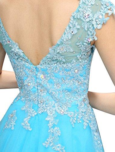 Dressystar Robe femme, Robe de bal/de princesse courte, aux appliques paillettes à fleur, en tulle Rose