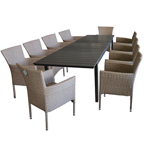 11tlg. Gartengarnitur Gartentisch, ausziehbar, 280/220x95cm Polywoodtischplatte, Aluminiumgestell,...