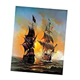 #4: MagiDeal Frameless DIY Paint By Numbers Kit Oil Painting Linen Canvas Home Living Room Wall Decorative Artwork Decor - ships on sea, 40*50cm