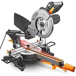 TACKLIFE 1500W 4500tr/min Scie à onglet, Scie à onglet coulissante avec lame 24T 210mm, extension de 200mm, angle de coupe 0-45 °, Performances puissantes de 45 ° / -45 °, Bois et plastique coupés.