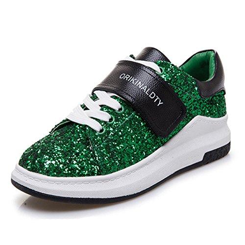 Sneaker Plana Das Mulheres Com Superfície Da Pintura Flash De Brilho E Oxfords Desporto Velcro Moda Boate Skate Verde