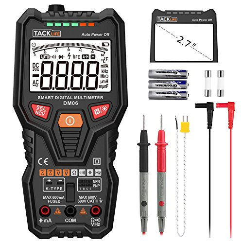 Tacklife DM06 Premium Digital Multimeter Vollautomatisches Multimeter mit 6000 Counts Spannungsmesser, Stromprüfer, Temperatur, Durchgangsprüfung mit großem hintergrundbeleuchten LCD, Inkl. 2 Ersatzsicherung