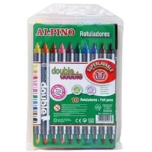 Alpino- Bolsa 1Bolsa 10 rotuladores Double Estuche, Colores Surtidos, Unica (AR000013)
