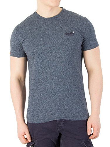 Superdry Herren T-Shirt Orange Label Vintage Emb Tee, Blu (Deep Lagoon Grit), Medium