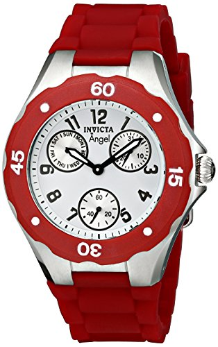 INVICTA WOMEN'S ANGEL RED SILICONE BAND STEEL CASE QUARTZ ANALOG WATCH 0701