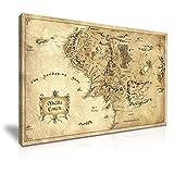 Mapa de la Tierra Media impreso en lienzo para pared. Inspirado en las películas El Hobbit y El Señor de los anillos (76x 50cm)