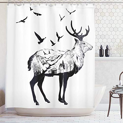 tgyew Deer Shower Curtain Set, Mountain and Cottage Scenery in Hand Drawn Animal Flying Birds Countryside Wildlife Themed, Fabric Bathroom Decor with Hooks, Black White, 60x72 inches -