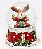 Dekohelden24 Goldige Schneekugel, Weihnachtselch mit Glocke, Ø 6,5 cm