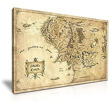 Hobbit de el Señor de los anillos tierra media mapa película lienzo para la pared Art print (76x 50cm