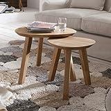 Bajo continuo-Living 11761 mesa de café mesa de centro de mesa nido Xena 63, 55 x 30 x 45 cm, madera de haya maciza barnizada