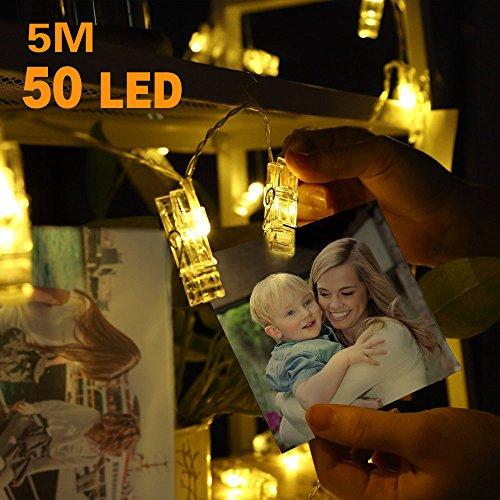 Clip cadena de luces LED - 50 Fotoclips 5M plana Betri batería Bildleuchten LED para la ración decorativos colgantes de fotos, notas, ilustraciones