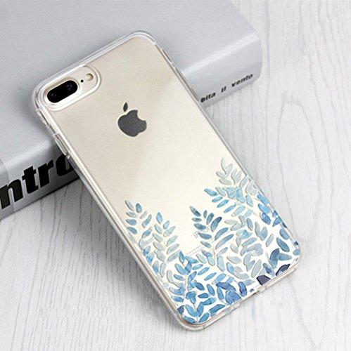 Coque iPhone 8,Coque iPhone 7,Ukayfe [Liquid Crystal] Coque en Silicone Souple TPU Housse Etui de Protection avec Absorption de Choc et Anti-Scratch Silicone Transparent Coque [Mandala Motif] Étui Gel Feuilles de fleurs#8