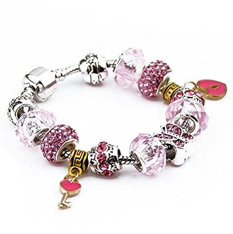 Retro Womens Bricolage en verre Bracelet perlé en forme de coeur Pendentif clé Diamants Bijoux en alliage , 19cm