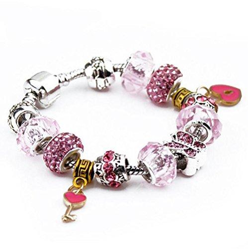 Tizikj il braccialetto in rilievo di vetro del braccialetto delle donne di diy ha modellato i monili della lega dei diamanti del pendente chiave di figura del cuore, 18cm