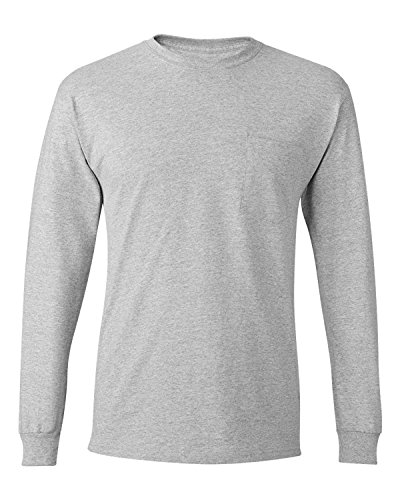 Hanes Men's Tagless Long-Sleeve T-Shirt With Pocket_Light Steel_S (Hanes-pocket-tees)