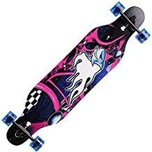 Tomasa 41 Pulgadas Monopatín Longboard Madera Profesional para el Cruising en la Ciudad y el Parque Skateboard Completo 104 x 23 x 10cm (Tipo 2 (Animal Print))