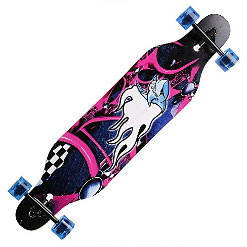 Tomasa Longboard Anfänger Skateboard Komplettboard mit ABEC-9 High Speed Kugellager Drop Down Street, 104 x 23 x - Board Im Buchstaben Freien