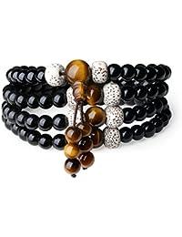 COAI® Pulsera Collar de 108 Cuenta Mala de Ojo de Tigre Semilla de Bodhi y Obsidiana Tibetana