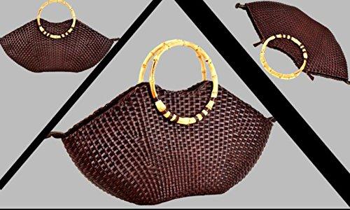 DJB/ Dermale handgewebte Fisch Lippen natürlichen Bambus geflochten Stroh Handtasche Lederhandtasche coffee color