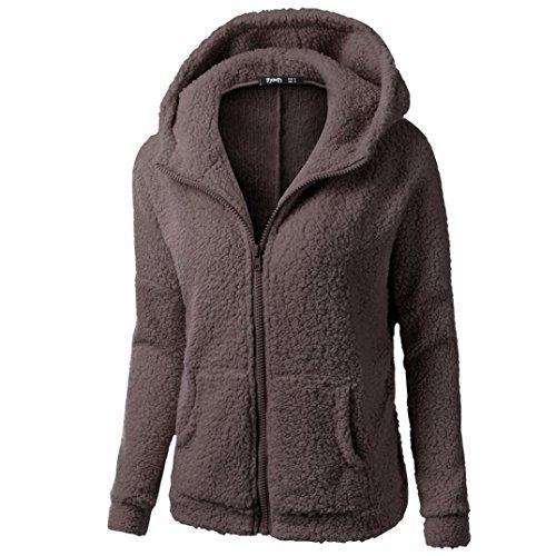 Xinan Damen Kapuzenpullover Sweatshirt Jacke Mantel Winter Wolle Pullover Kleidung Frauen Lange Pullover Blusen Tops von (S, Kaffee)