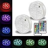 Omika Tauch LED-Leuchten batteriebetrieben, Multi Farbwechsel wasserdicht Spot-Licht mit Fernbedienung 12 LEDs für Brunnen, Unterwasser-Aquarium, Teich, Terrasse, Glasvase Dekor (2-Pack)