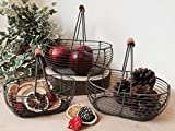 Set di 3 cestini portaoggetti marrone rustico vintage, manico in legno.