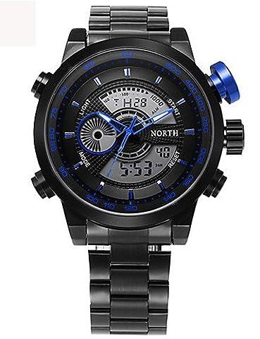 lpan Stecker Sport Armbanduhr Multifunktions LED Digital Uhr Dual Time Stunden Handgelenk Analog rund Fashion Casual Quarz Herren Sport Armbanduhr relogio Masculino, blau
