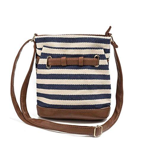 Stripe Canvas Tote Borse donna versatile spalla borsa borse postino pacchetto by Kangrunmy Blu marino